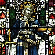 King Alfred as Founder of the British Navy in Stained Glass