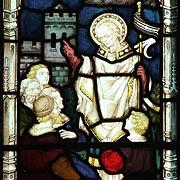 saint Piran prêchant, vitrail de Cornouailles